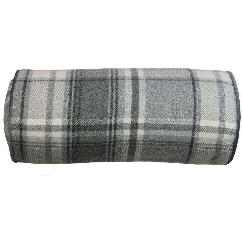 McAlister Textiles Deluxe Tartan Charcoal Grey Bolster Pillow Bolster Cushion