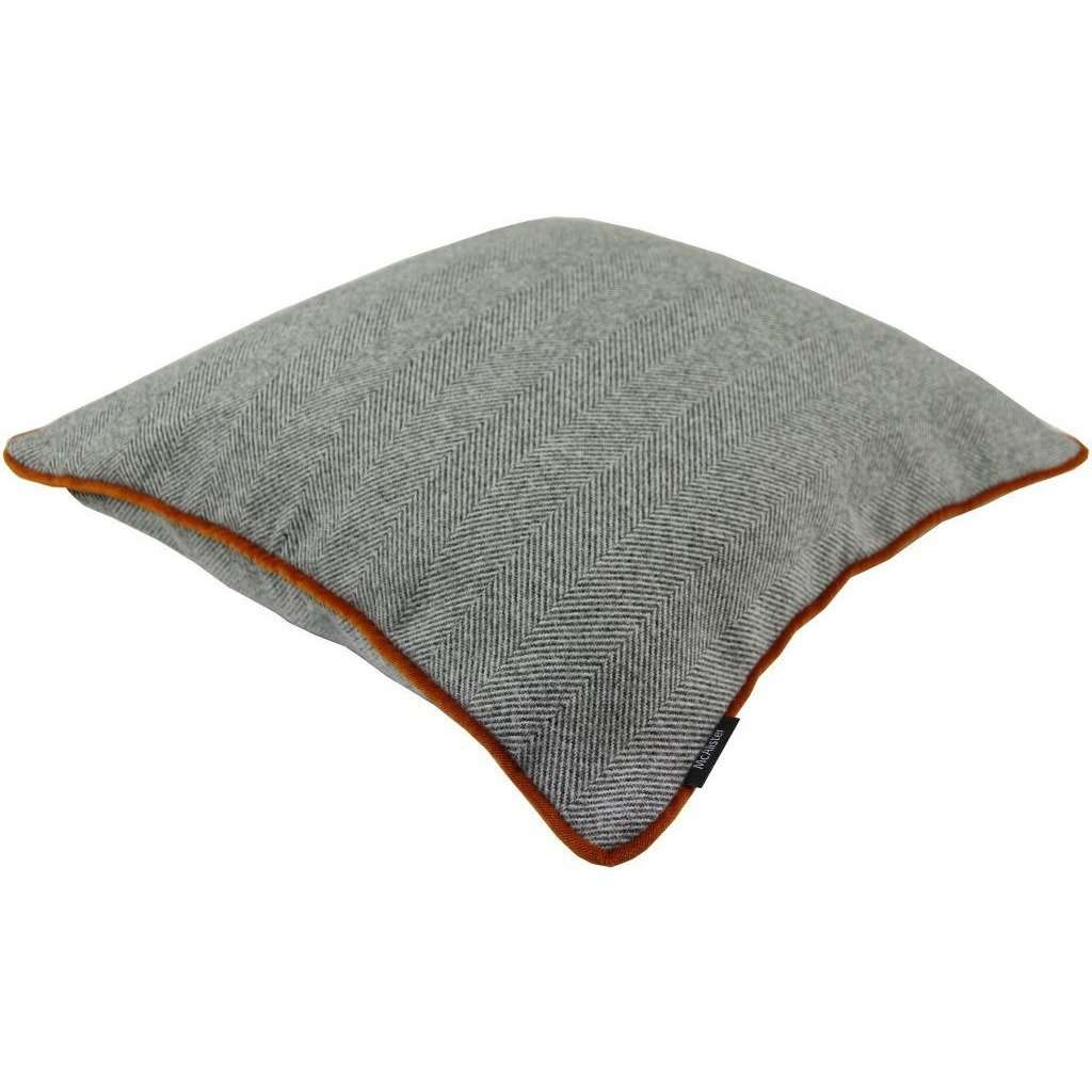 McAlister Textiles Herringbone Boutique Grey + Orange Cushion Cushions and Covers