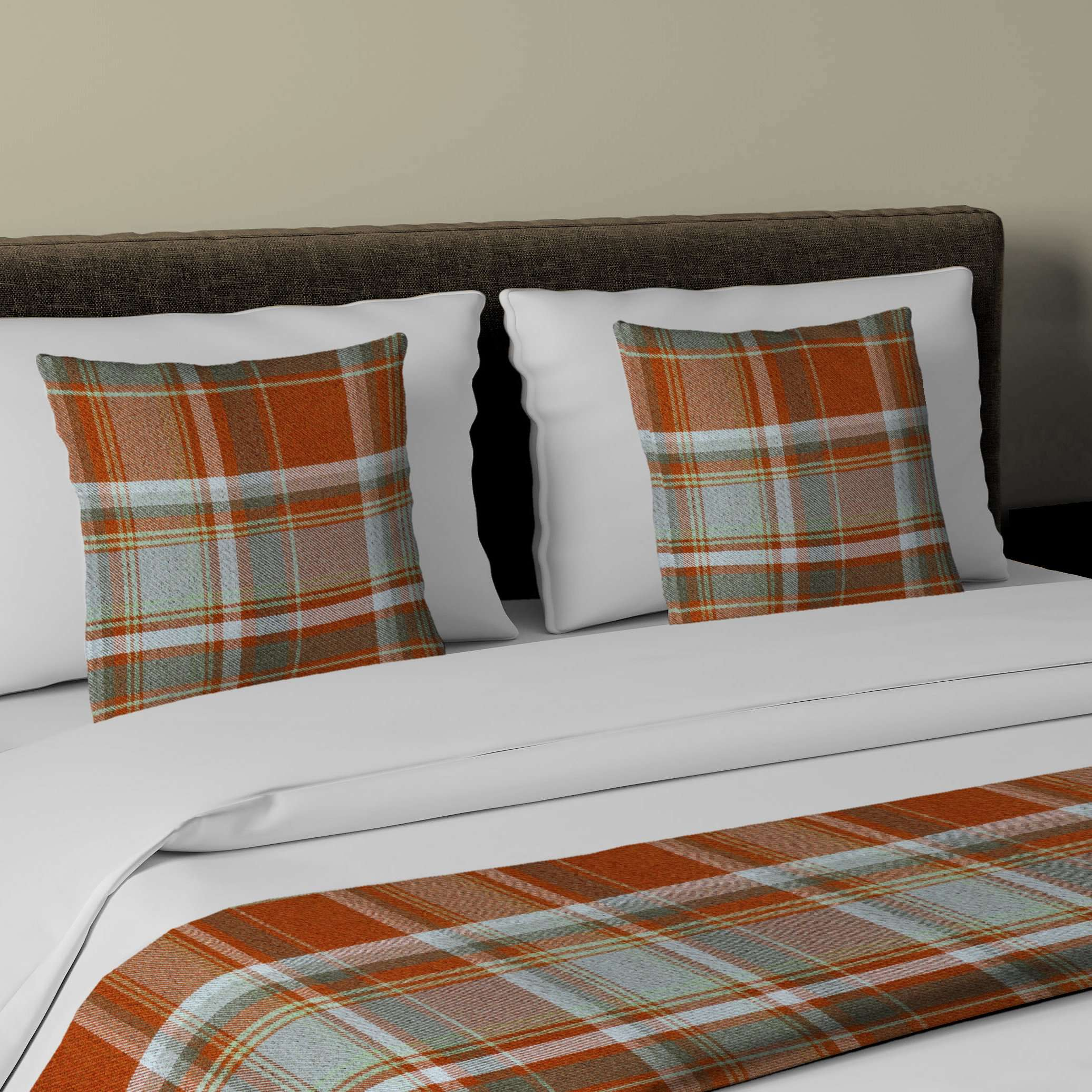McAlister Textiles Heritage Burnt Orange + Grey Tartan Bedding Set Bedding Set Runner (50x240cm) + 2x Cushion Covers