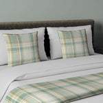 Laden Sie das Bild in den Galerie-Viewer, McAlister Textiles Heritage Duck Egg Blue Tartan Bedding Set Bedding Set Runner (50x240cm) + 2x Cushion Covers
