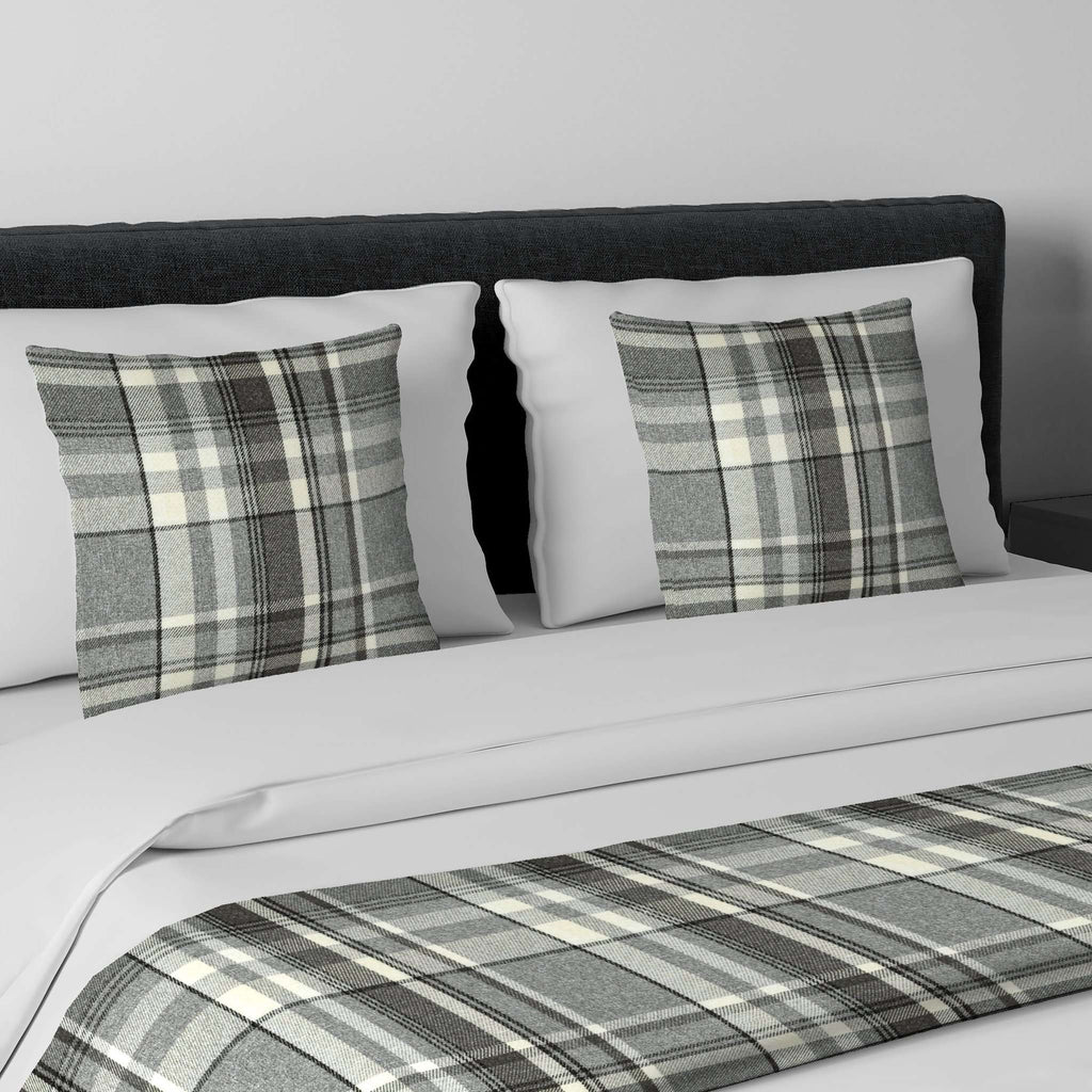 McAlister Textiles Heritage Charcoal Grey Tartan Bedding Set Bedding Set Runner (50x240cm) + 2x Cushion Covers