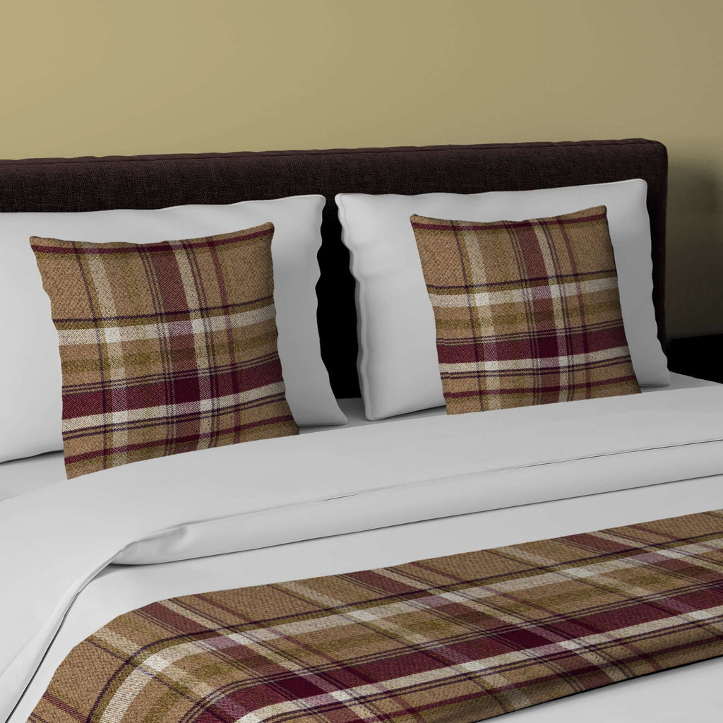 McAlister Textiles Heritage Purple + Green Tartan Bedding Set Bedding Set Runner (50x240cm) + 2x Cushion Covers