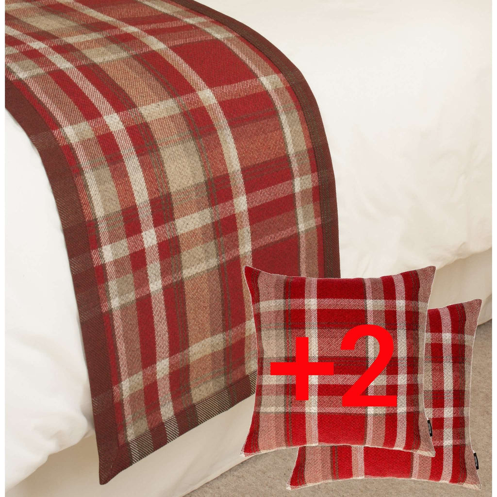McAlister Textiles Heritage Tartan Check Red + White Bedding Set Throws and Runners