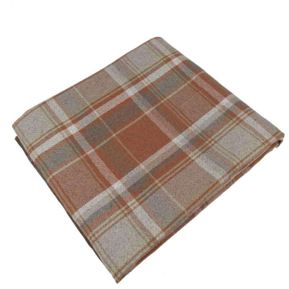 McAlister Textiles Heritage Burnt Orange + Grey Tartan Throw Throws and Runners