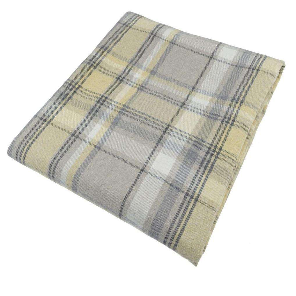 McAlister Textiles Heritage Yellow + Grey Tartan Table Runner Throws and Runners Table Runner (30cm x 200cm)