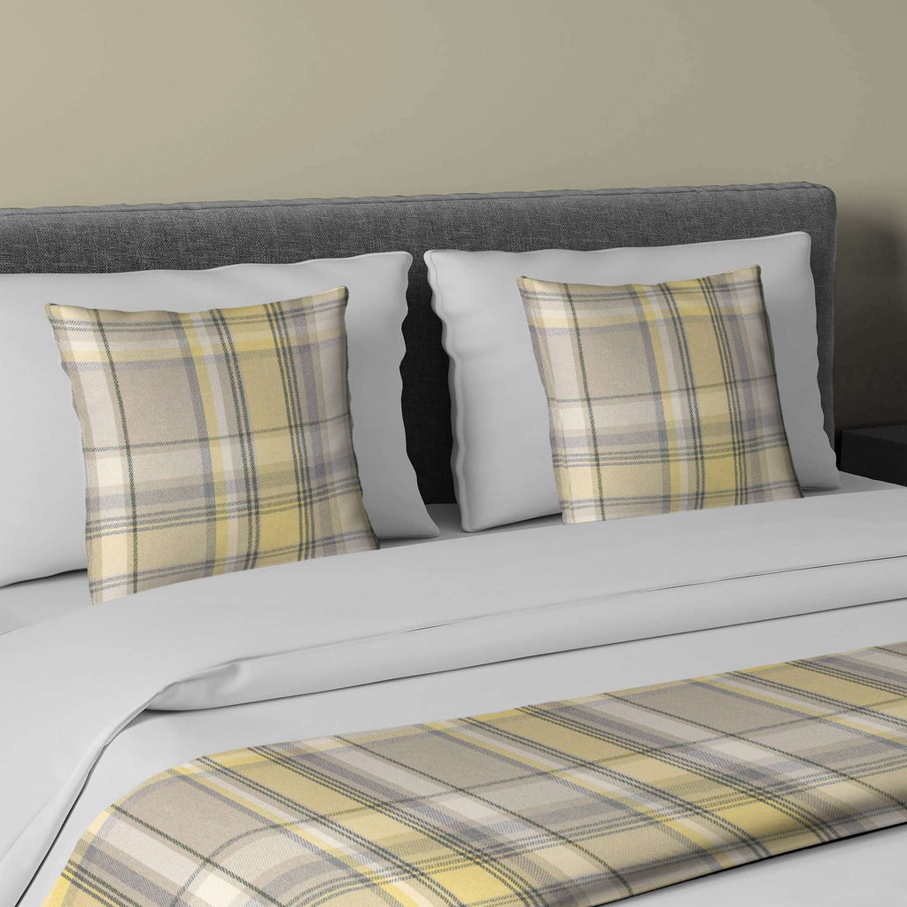 McAlister Textiles Heritage Yellow + Grey Tartan Bedding Set Bedding Set Runner (50x240cm) + 2x Cushion Covers
