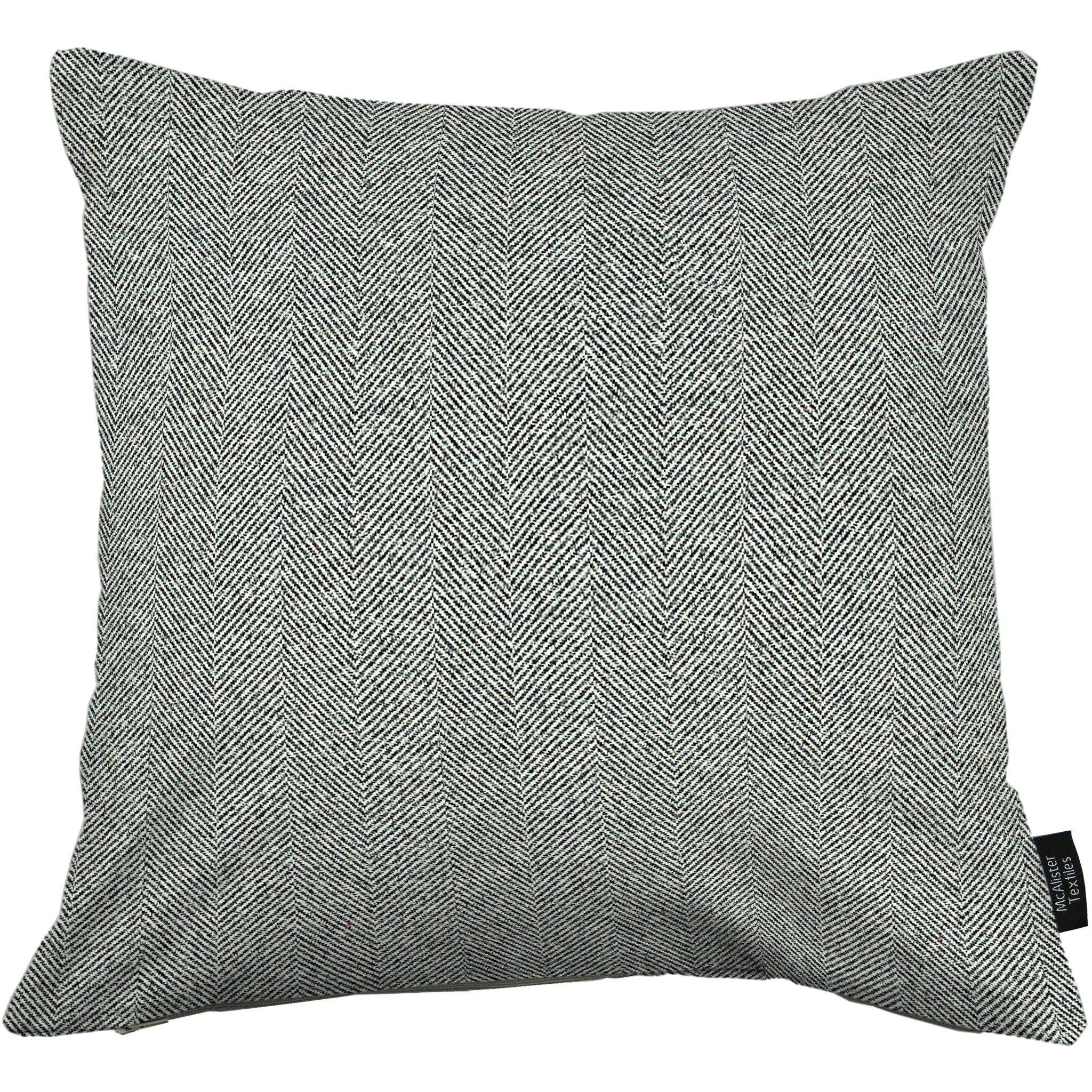 McAlister Textiles Herringbone Charcoal Grey Cushion Cushions and Covers Cover Only 43cm x 43cm
