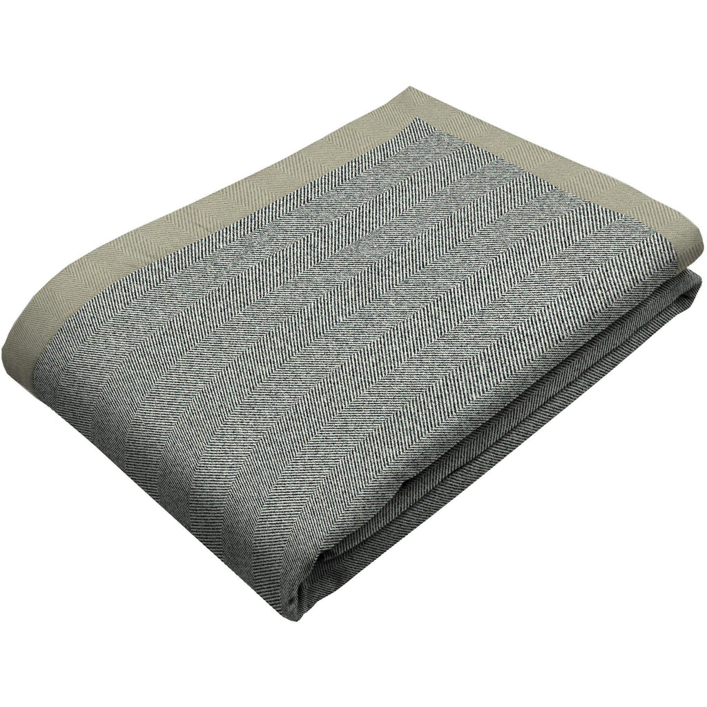 McAlister Textiles Herringbone Charcoal Grey Throw Blanket Throws and Runners Bed Runner (50cm x 240cm)