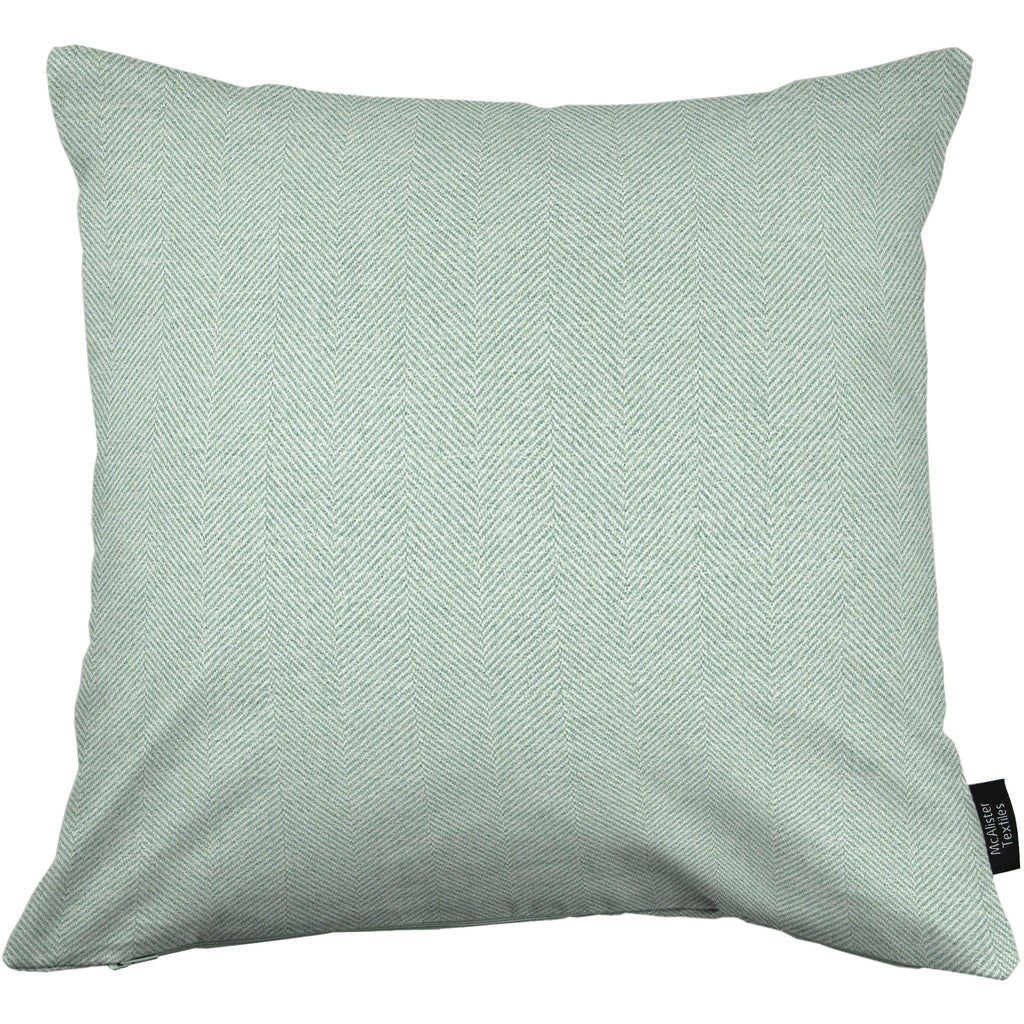 McAlister Textiles Herringbone Wool Touch Cushion - Duck Egg Blue-Cushions and Covers-