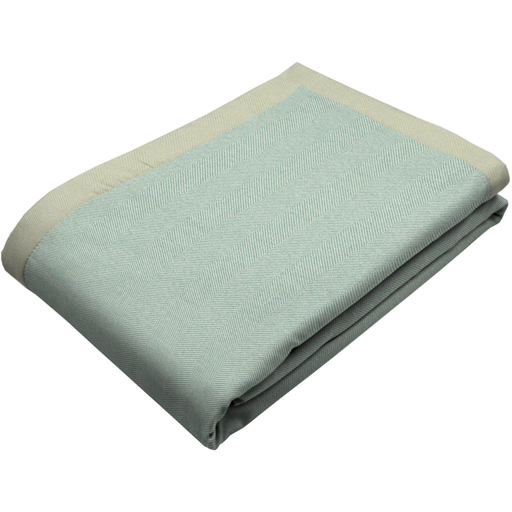 McAlister Textiles Herringbone Duck Egg Blue Throws & Runners Throws and Runners Bed Runner (50cm x 240cm)