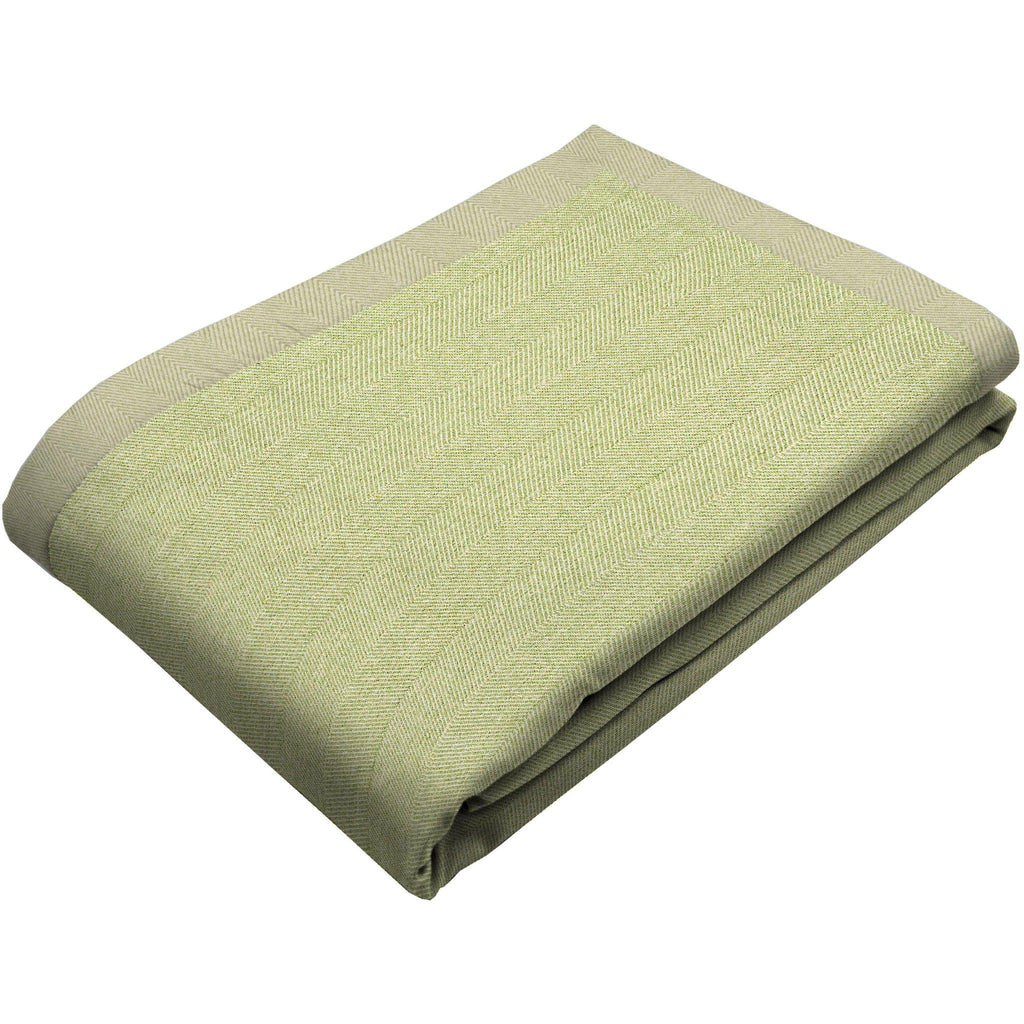 McAlister Textiles Herringbone Wool Touch Throw & Runner - Sage Green-Throws and Runners-