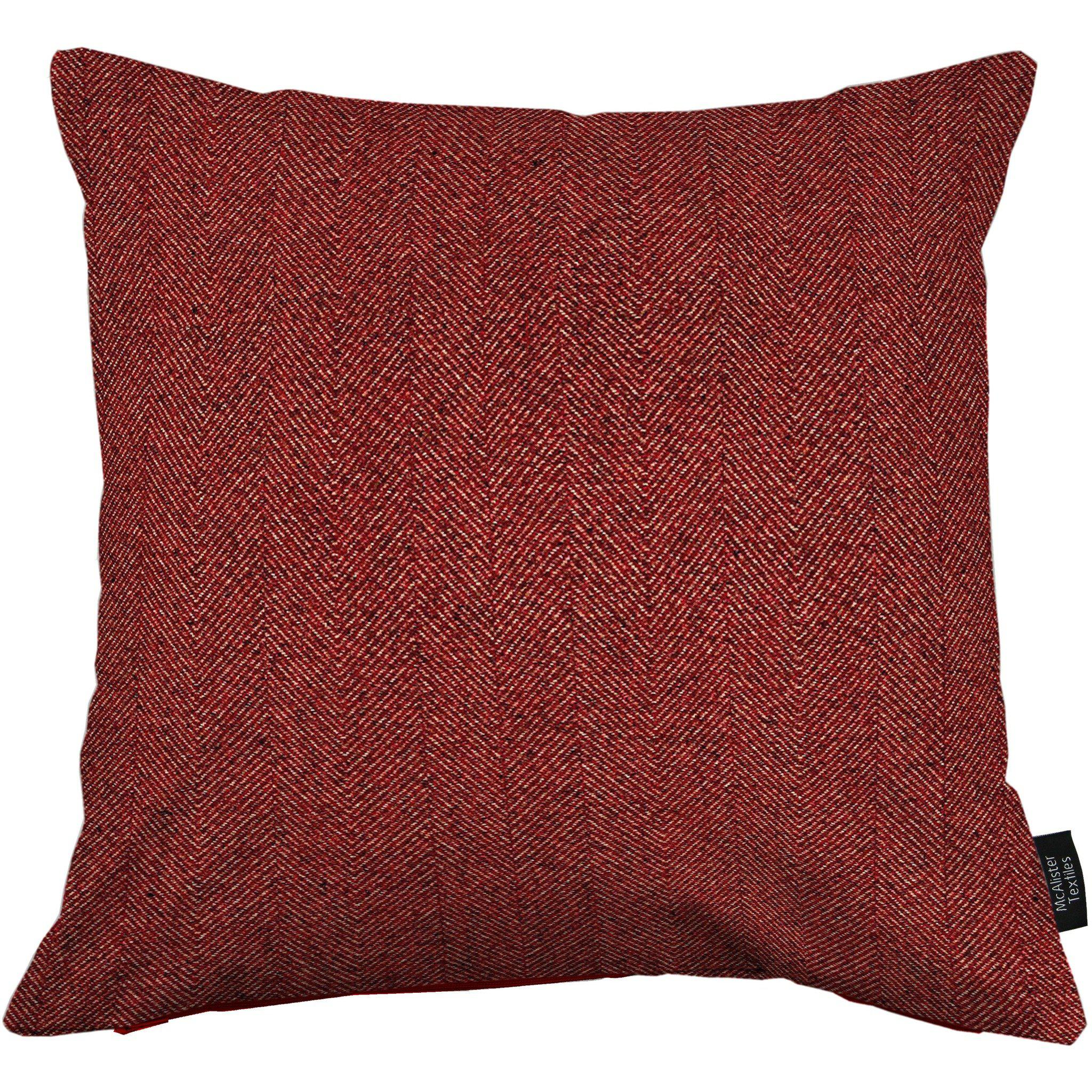 McAlister Textiles Herringbone Red Cushion Cushions and Covers Cover Only 43cm x 43cm