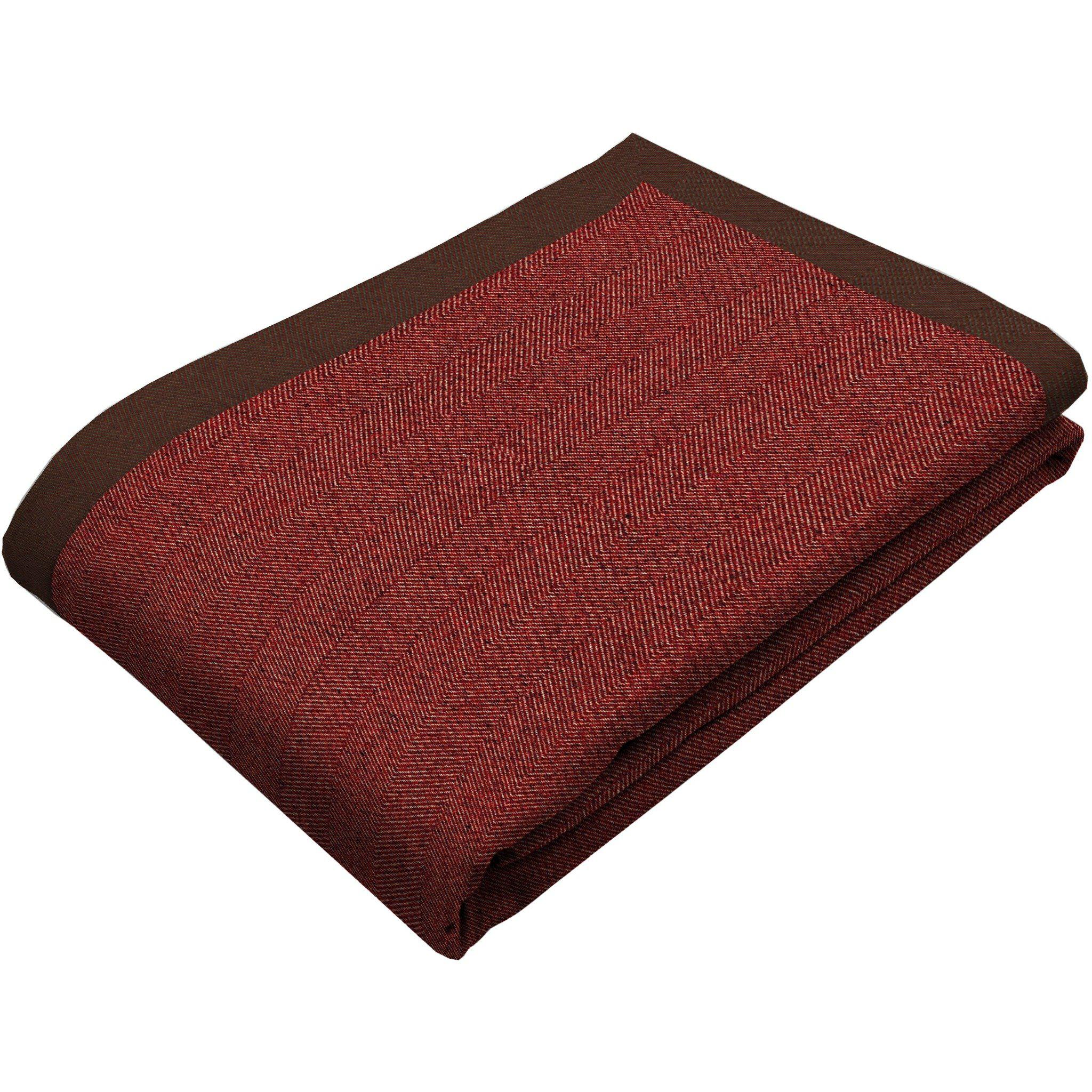 McAlister Textiles Herringbone Red Throw Blanket Throws and Runners Bed Runner (50cm x 240cm)