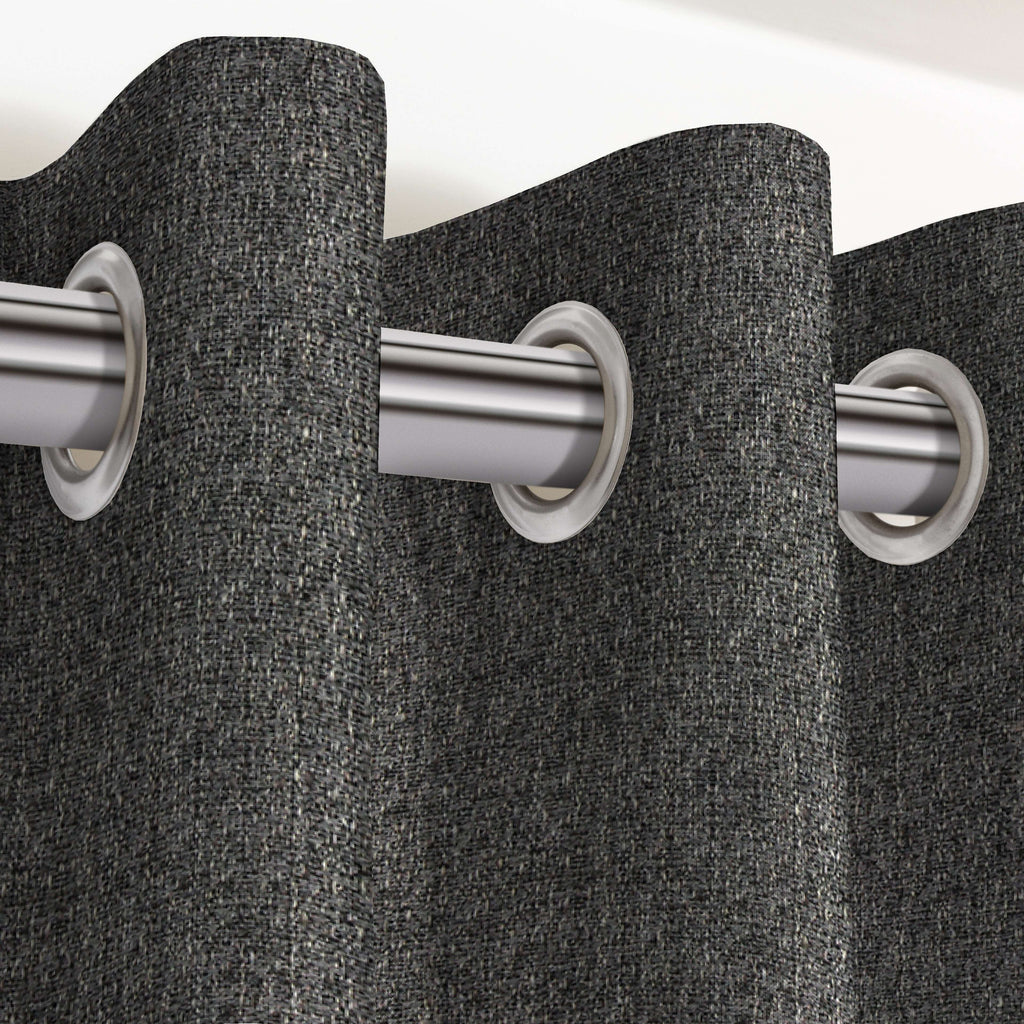 McAlister Textiles Highlands Textured Plain Charcoal Grey Curtains Tailored Curtains