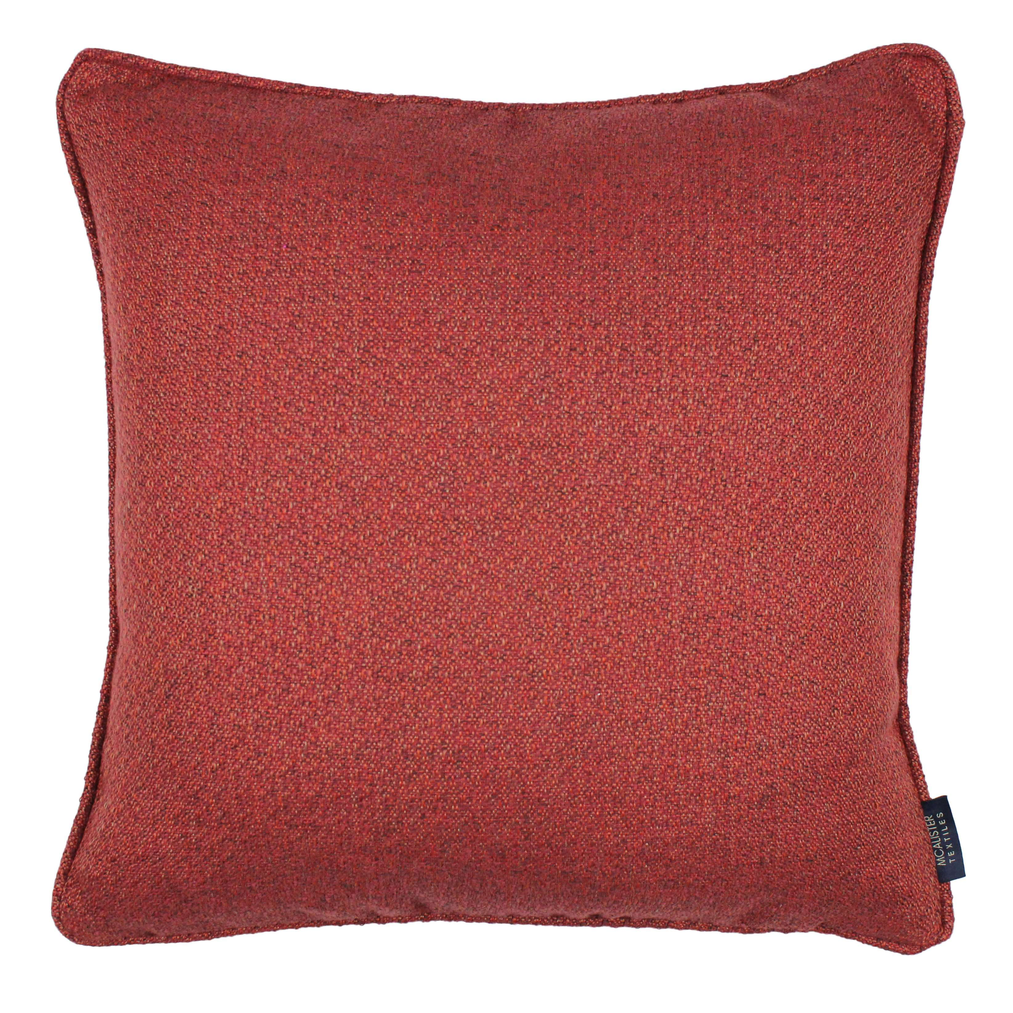 McAlister Textiles Highlands Red Textured Plain Cushion Cushions and Covers Cover Only 43cm x 43cm