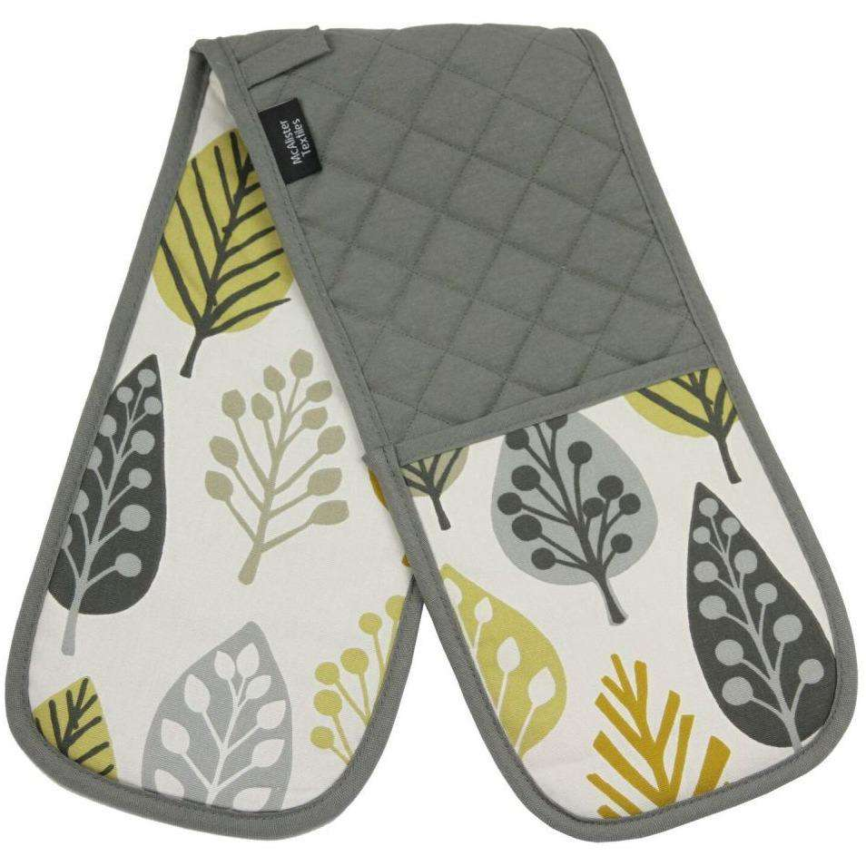 McAlister Textiles Magda Yellow Cotton Print Double Oven Mitts Kitchen Accessories