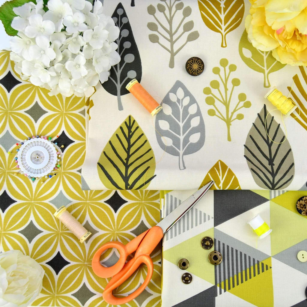 McAlister Textiles Magda Cotton Print Ochre Yellow Fabric Fabrics