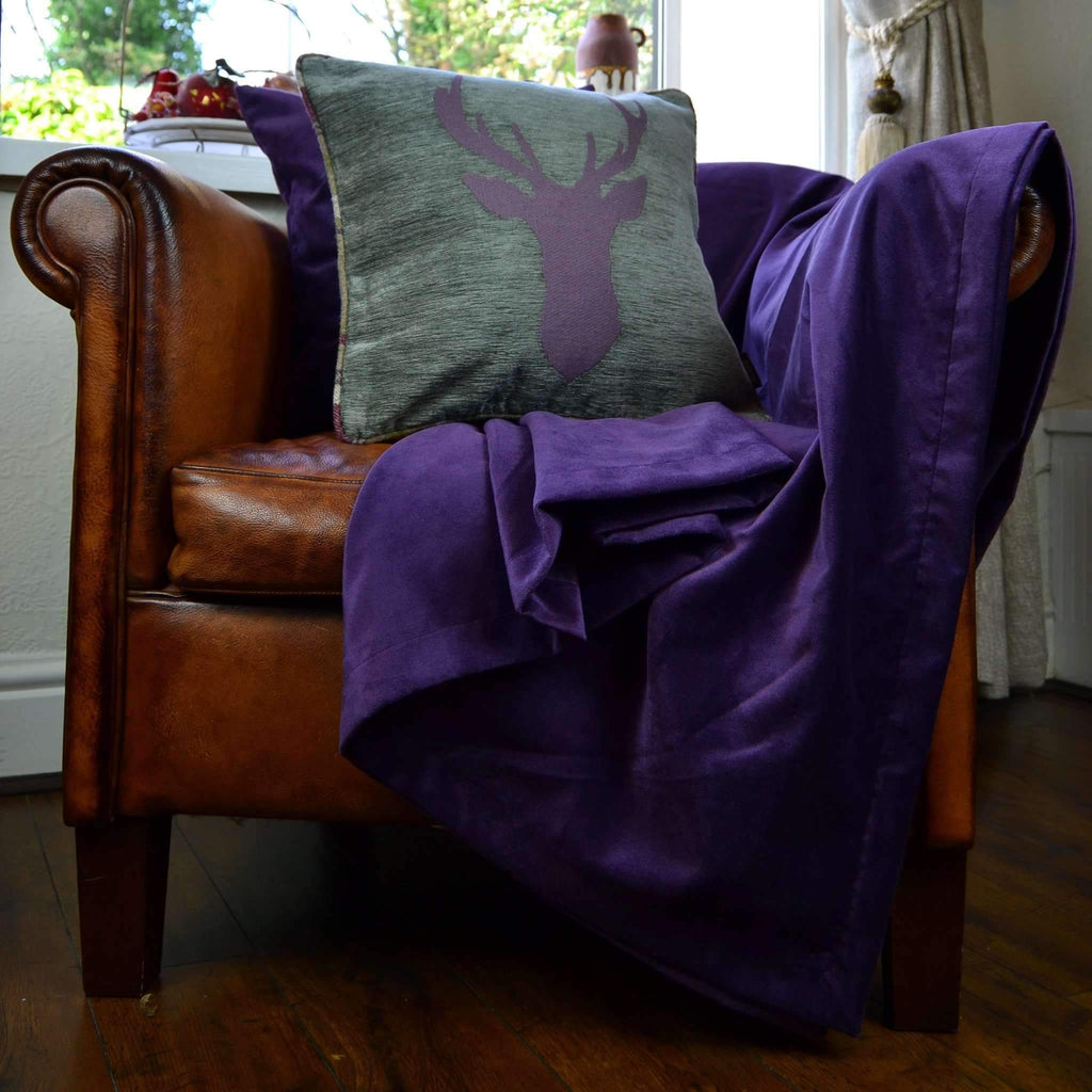 McAlister Textiles Stag Purple + Green Tartan 43cm x 43cm Cushion Set Cushions and Covers