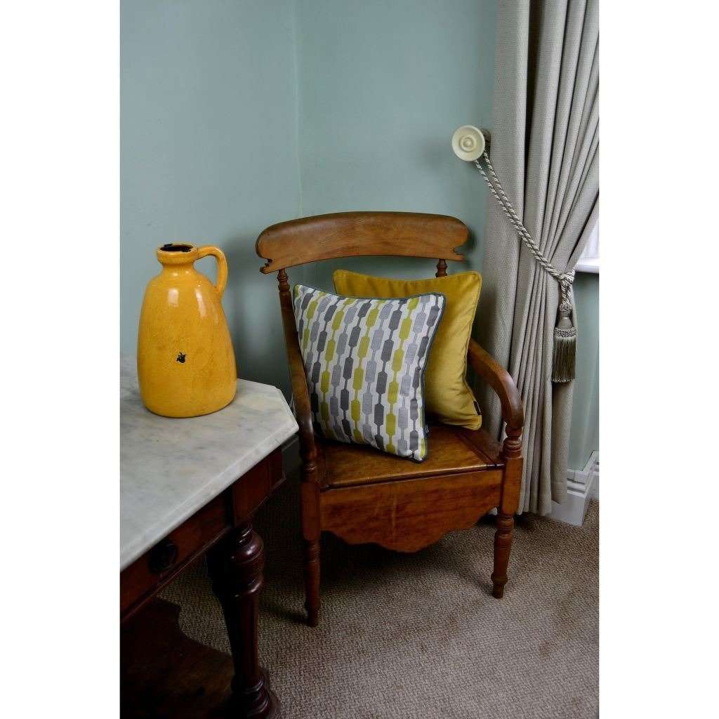 McAlister Textiles Lotta Ochre Yellow + Grey Cushion Cushions and Covers