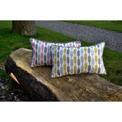 McAlister Textiles Lotta Ochre and Grey Striped Pillow-Cushions and Covers-