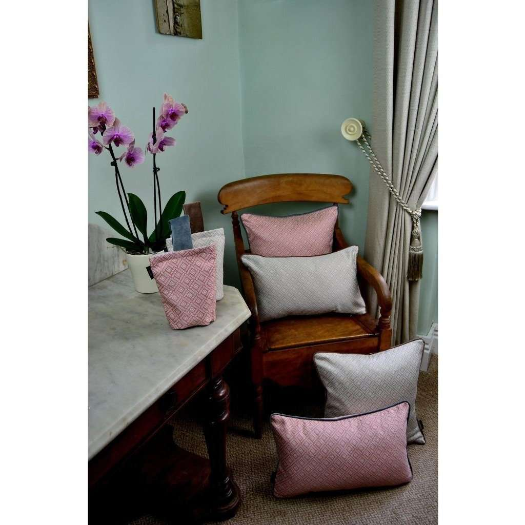 McAlister Textiles Elva Geometric Blush Pink Cushion Cushions and Covers