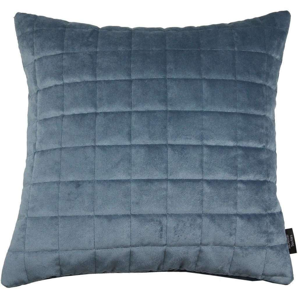 McAlister Textiles Square Quilted Dark Blue Velvet Cushion Cushions and Covers Cover Only 43cm x 43cm
