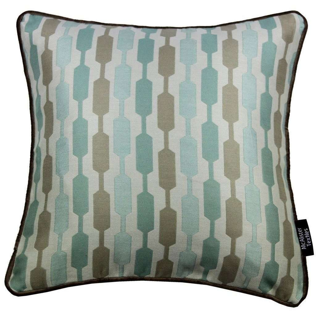 McAlister Textiles Lotta Duck Egg Blue + Brown Cushion Cushions and Covers Cover Only 43cm x 43cm