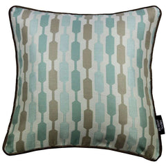McAlister Textiles Lotta Duck Egg and Taupe Striped Cushion-Cushions and Covers-
