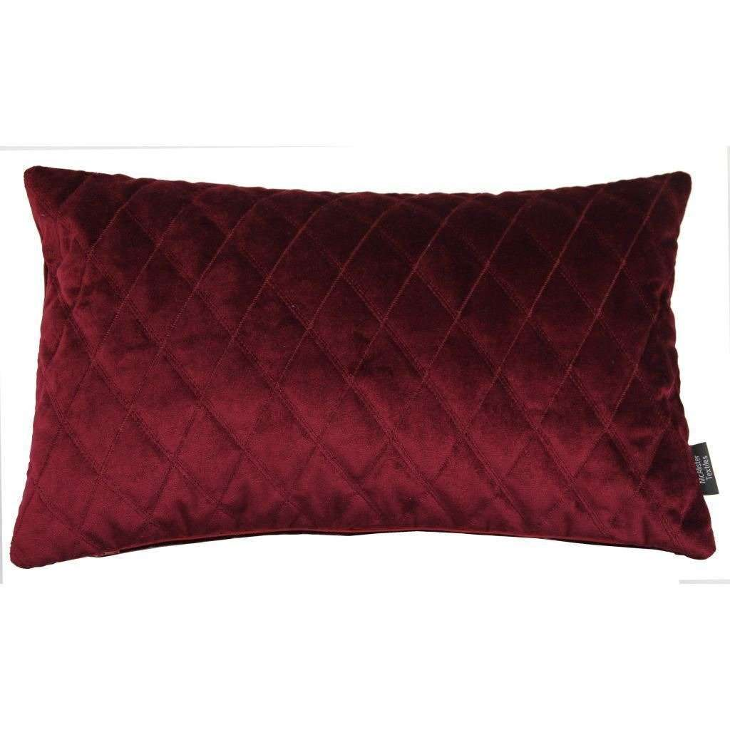 McAlister Textiles Diamond Quilted Wine Red Velvet Cushion Cushions and Covers Cover Only 50cm x 30cm