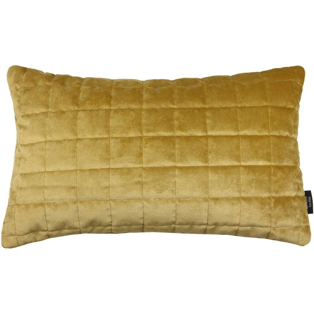 McAlister Textiles Square Quilted Yellow Gold Velvet Cushion Cushions and Covers Cover Only 50cm x 30cm