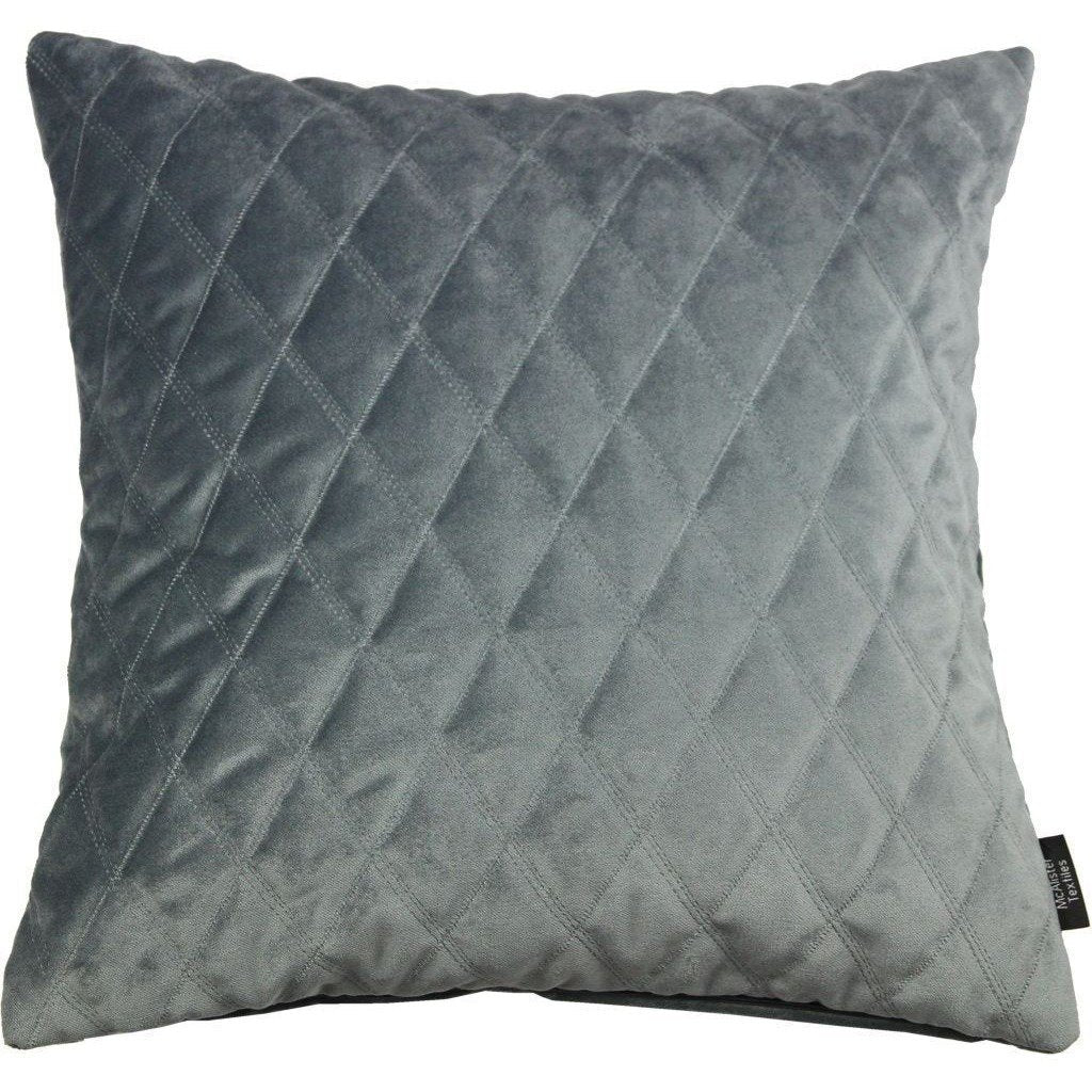 McAlister Textiles Diamond Quilted Silver Grey Velvet Pillow Pillow Cover Only 43cm x 43cm