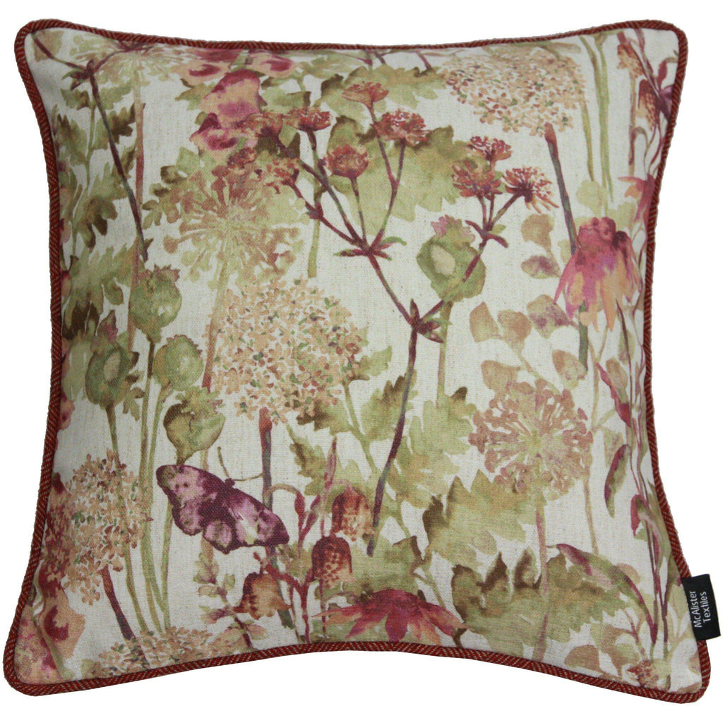 McAlister Textiles Wildflower Burnt Orange Linen Cushion Cushions and Covers Polyester Filler 43cm x 43cm
