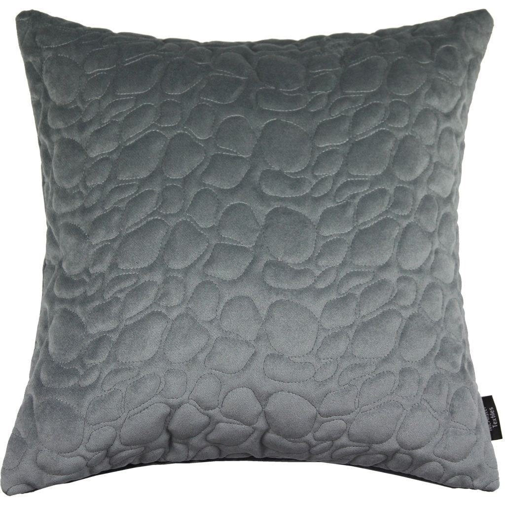 McAlister Textiles Pebble Quilted Silver Grey Velvet Pillow Pillow Cover Only 43cm x 43cm