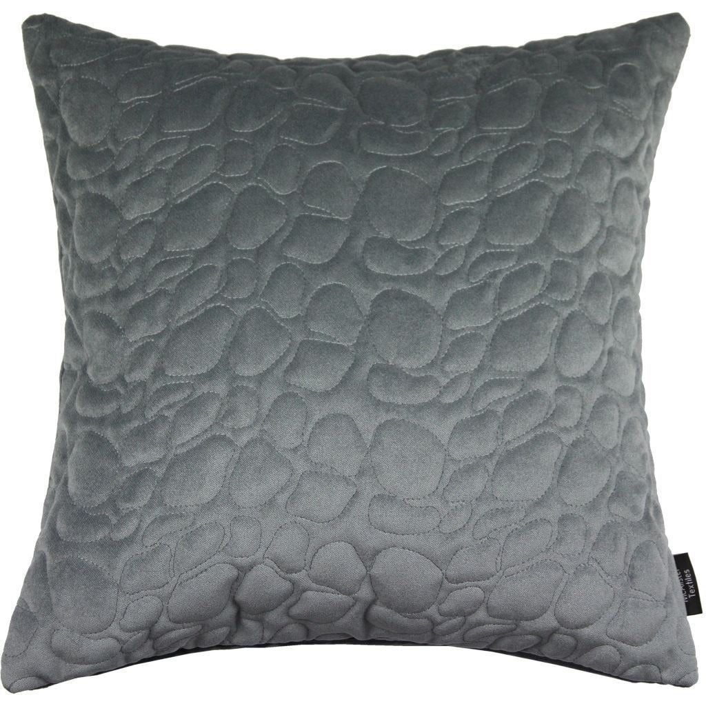 McAlister Textiles Pebble Quilted Silver Grey Velvet Cushion Cushions and Covers Cover Only 43cm x 43cm