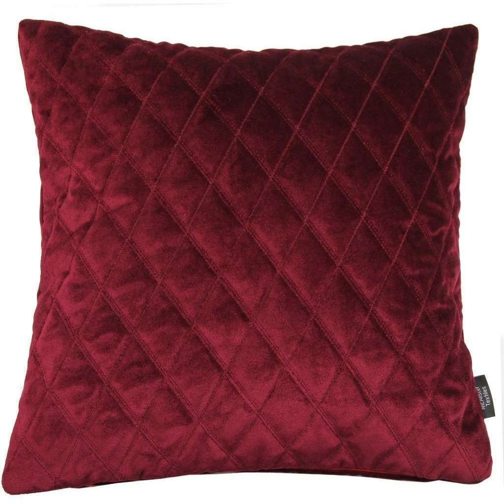 McAlister Textiles Diamond Quilted Velvet Wine Red Cushion-Cushions and Covers-