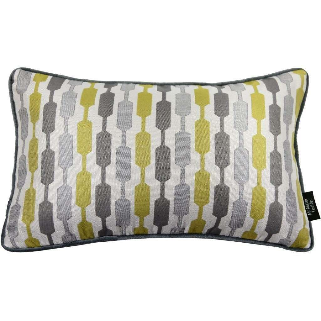 McAlister Textiles Lotta Ochre Yellow + Grey Cushion Cushions and Covers Cover Only 50cm x 30cm