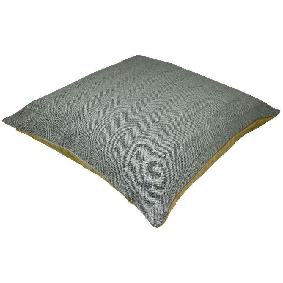 McAlister Textiles Deluxe Herringbone Grey + Yellow 66cm x 66cm Floor Cushion Floor Cushions