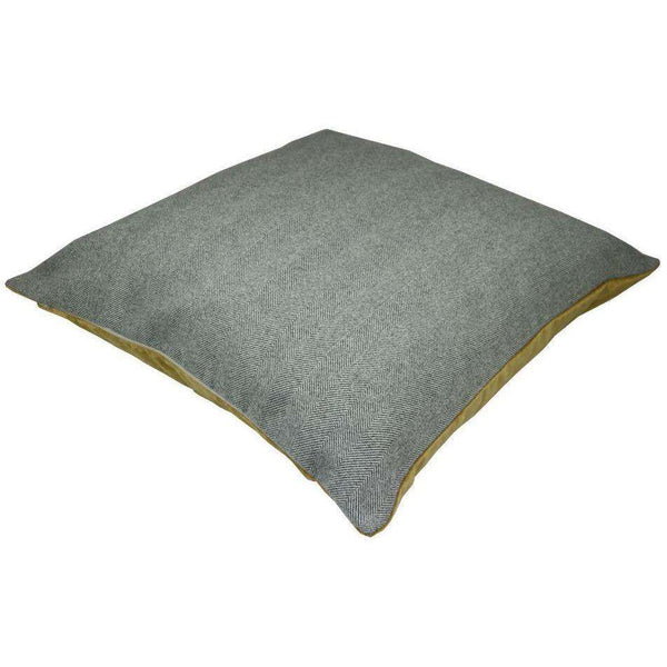 McAlister Textiles Deluxe Herringbone Grey + Yellow Square Floor Cushion Floor Cushions