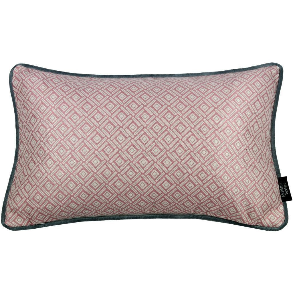 McAlister Textiles Elva Geometric Blush Pink Pillow Pillow Cover Only 50cm x 30cm