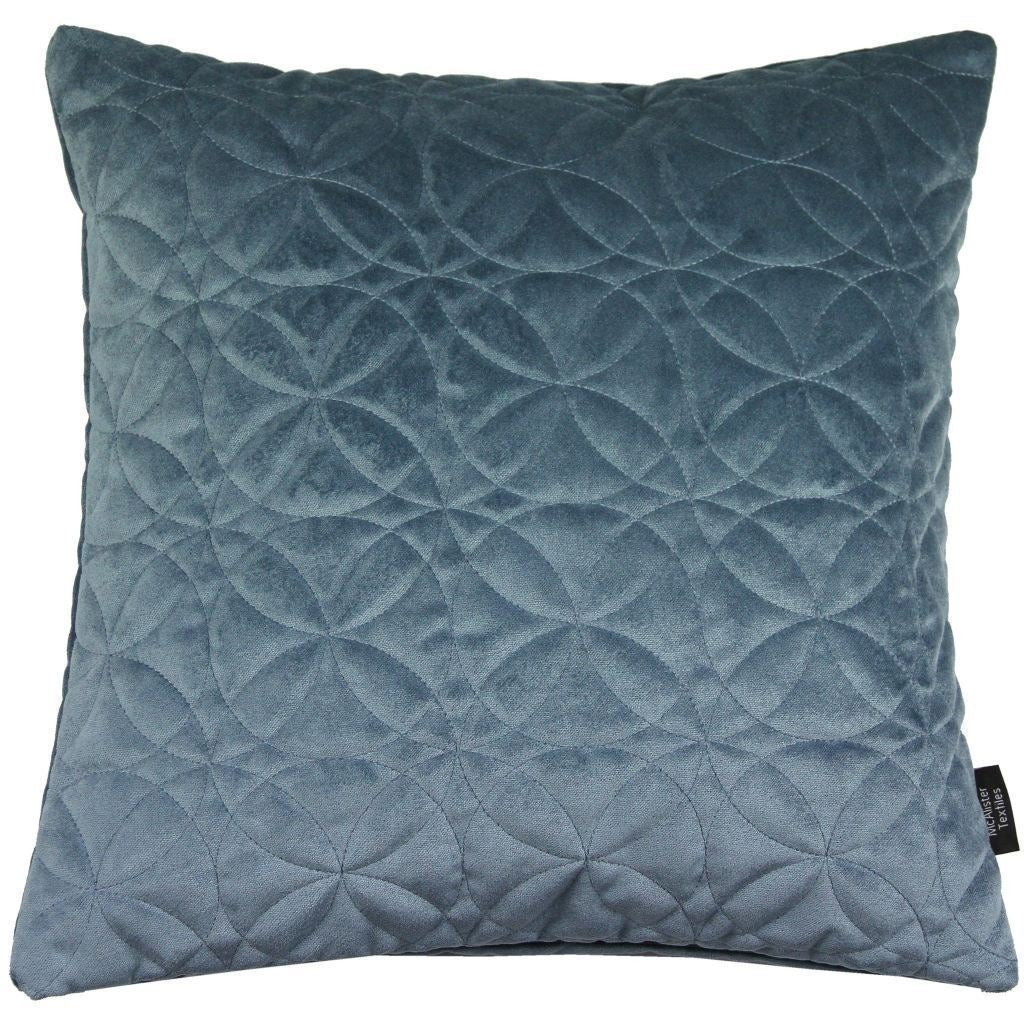 McAlister Textiles Round Quilted Dark Blue Velvet Cushion Cushions and Covers Cover Only 43cm x 43cm