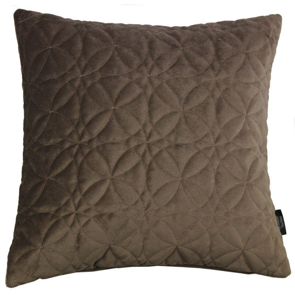 McAlister Textiles Round Quilted Mocha Brown Velvet Pillow Pillow Cover Only 43cm x 43cm