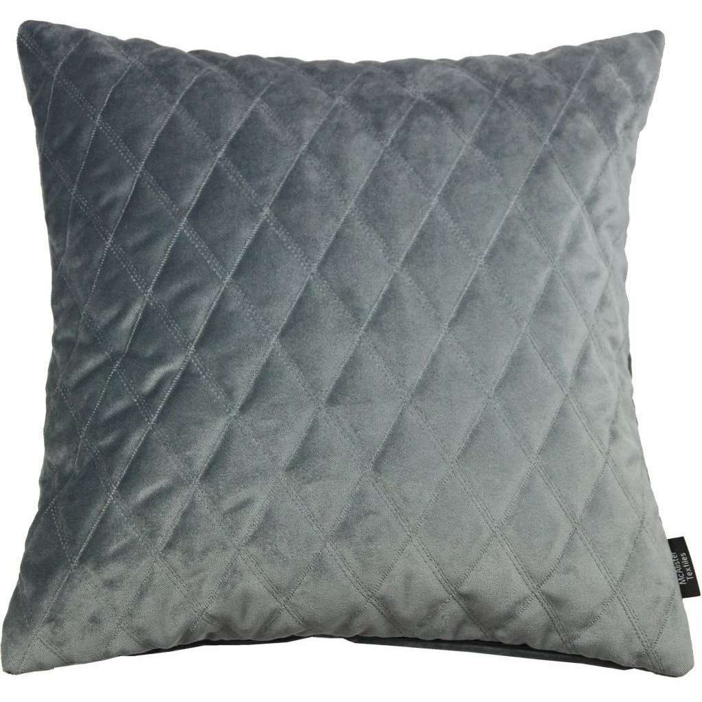 McAlister Textiles Diamond Quilted Silver Grey Velvet Cushion Cushions and Covers Cover Only 43cm x 43cm