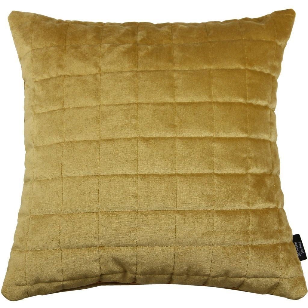 McAlister Textiles Square Quilted Yellow Gold Velvet Cushion Cushions and Covers Cover Only 43cm x 43cm