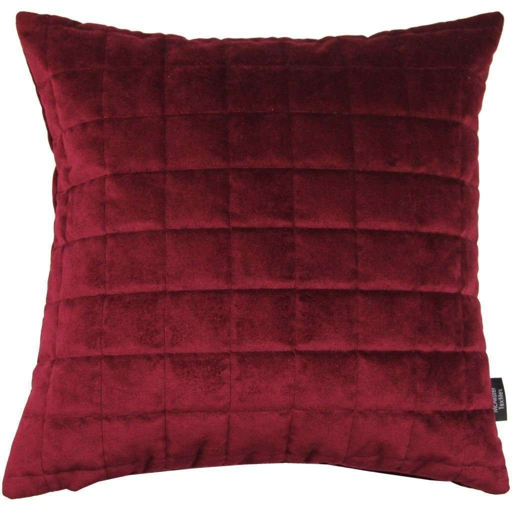 McAlister Textiles Square Quilted Wine Red Velvet Cushion Cushions and Covers Cover Only 43cm x 43cm