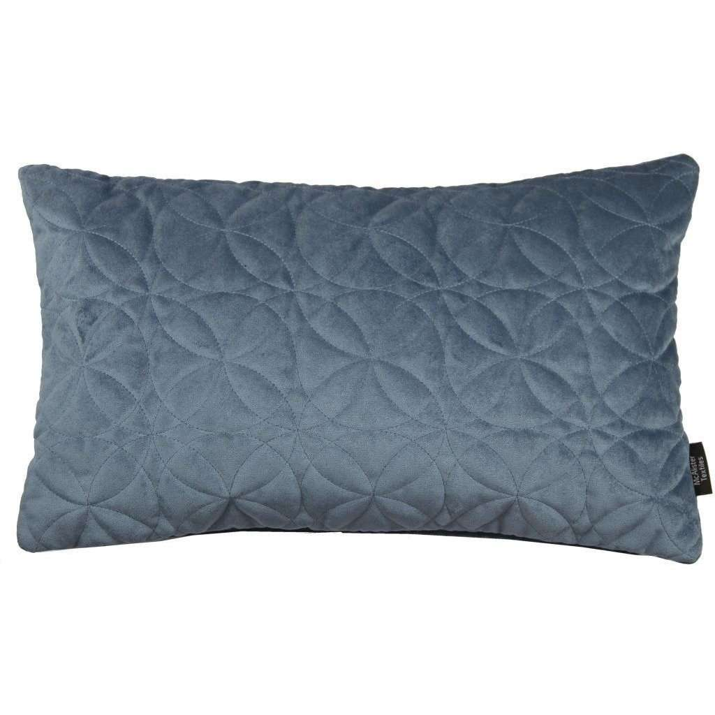 McAlister Textiles Round Quilted Dark Blue Velvet Cushion Cushions and Covers Cover Only 50cm x 30cm