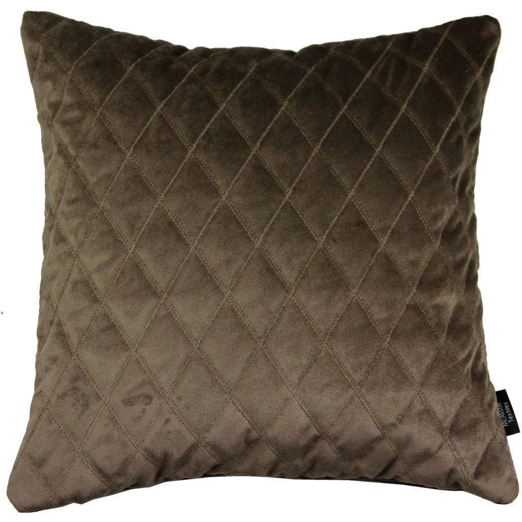 McAlister Textiles Diamond Quilted Mocha Brown Velvet Pillow Pillow Cover Only 43cm x 43cm