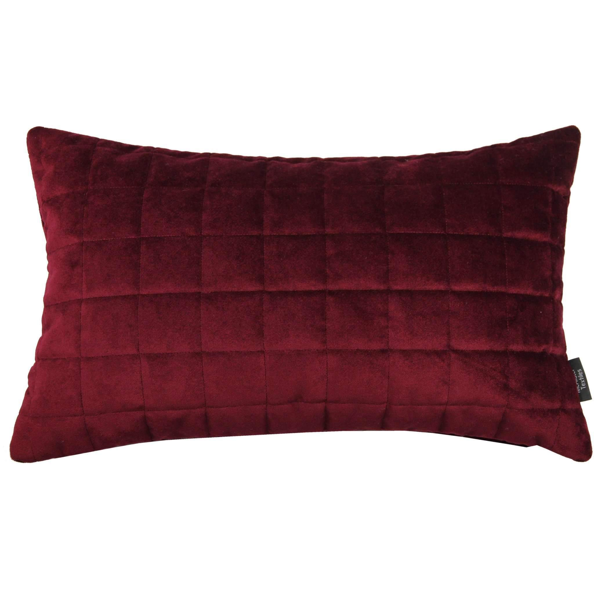 McAlister Textiles Square Quilted Wine Red Velvet Cushion Cushions and Covers Cover Only 50cm x 30cm