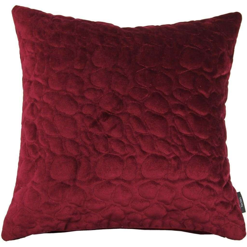 McAlister Textiles Pebble Quilted Wine Red Velvet Pillow Pillow Cover Only 43cm x 43cm