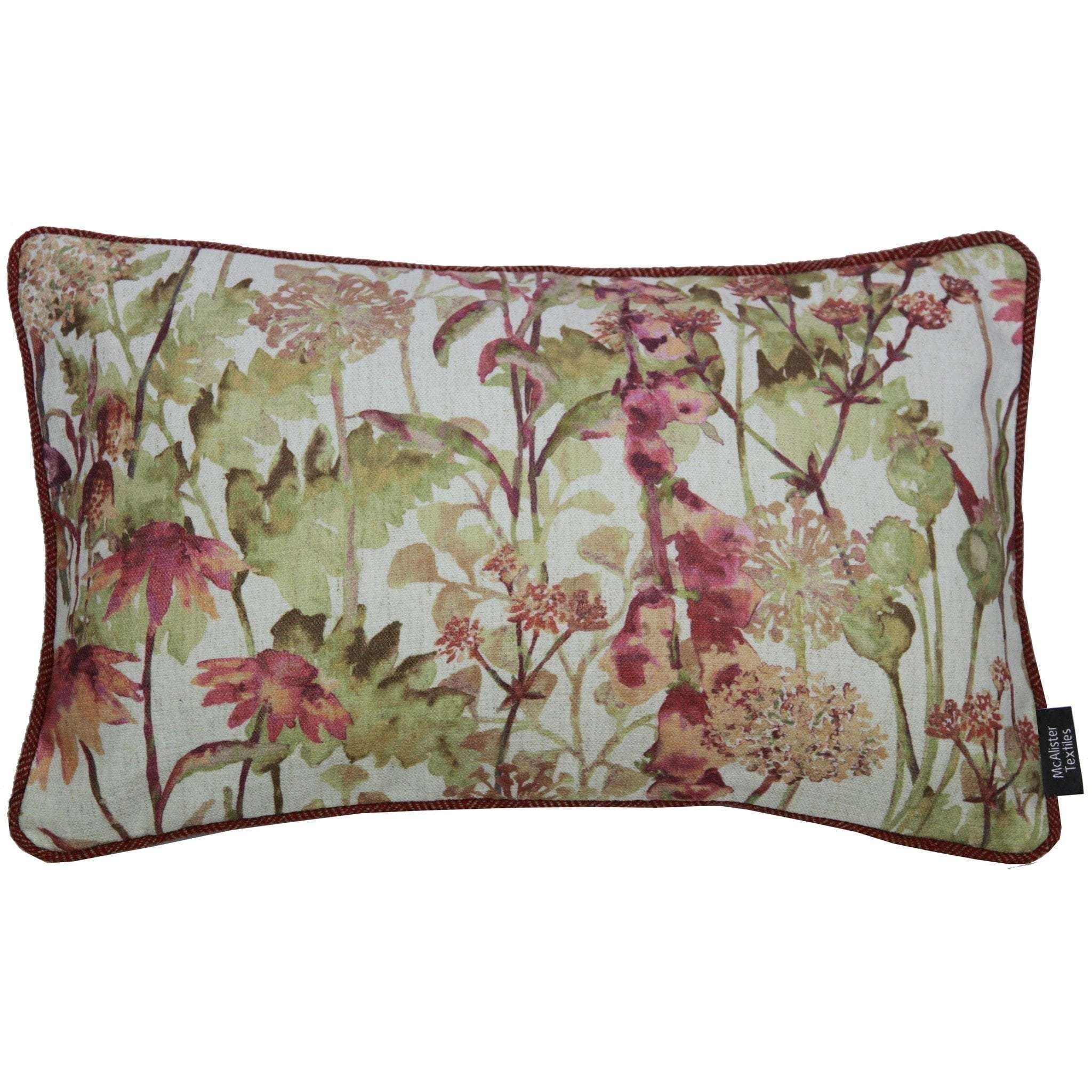 McAlister Textiles Wildflower Burnt Orange Linen Pillow Pillow Cover Only 50cm x 30cm
