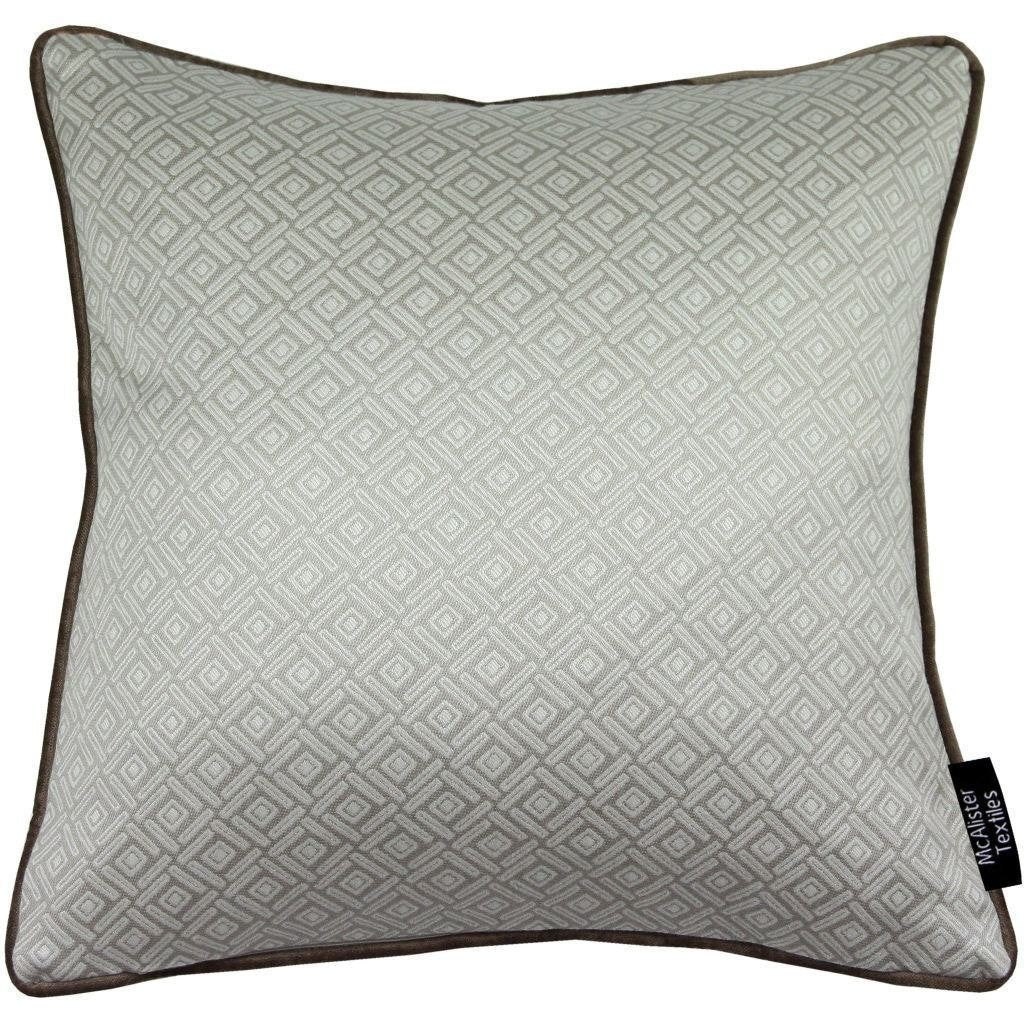 McAlister Textiles Elva Geometric Beige Grey Pillow Pillow Cover Only 43cm x 43cm